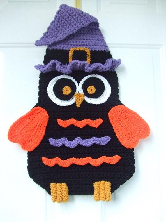 Crochet Pattern Halloween Owl Door Hanging, Digital Download