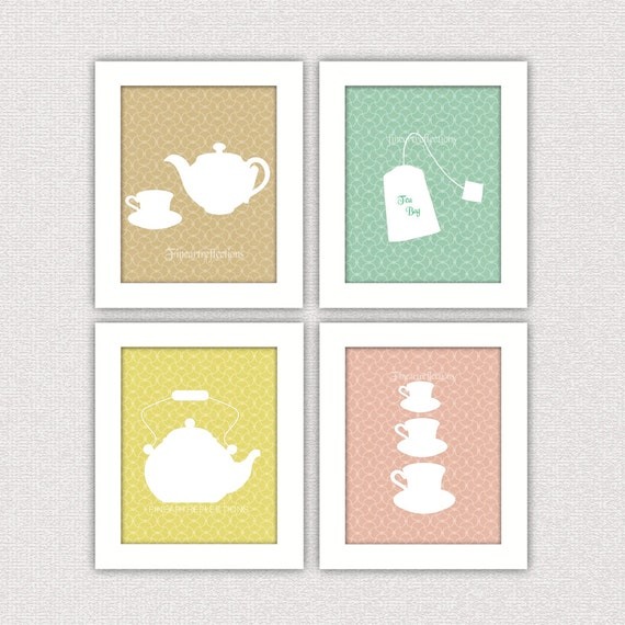 Items Similar To French Modern Kitchen Wall Art Prints Set