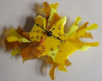 SALE! - fused glass clock -  free form yellows