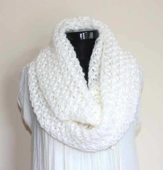 White Sparkly Angora Large Loop SCARF- Ready to Ship