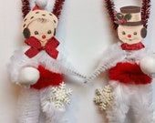 SNOWMAN snowwoman w/red CHRISTMAS vintage style chenille ORNAMENTS set of 2