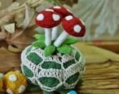 Three eco  friendly wool mushroom pins... choice of color