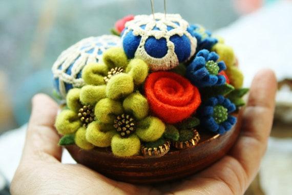 Felt and vintage doily flower pincushion