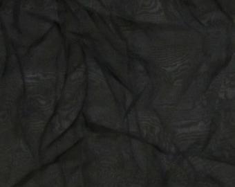 Black Iridescent Silk Chiffon Fabric - 1 Yard