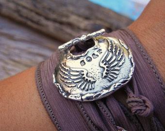 Bird Jewelry, Wings Bracelet, Pretty Gift for Her, STERLING Silver Modern Jewelry, Adjustable Wrap Bracelet, READY to SHIP Gift for Women