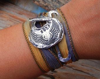 Sterling Silver Jewelry Gift for Women, READY to SHIP Gift for Her, Cool Jewelry, Sterling Silver Silk Wrap Bracelet, 10 Designs READY