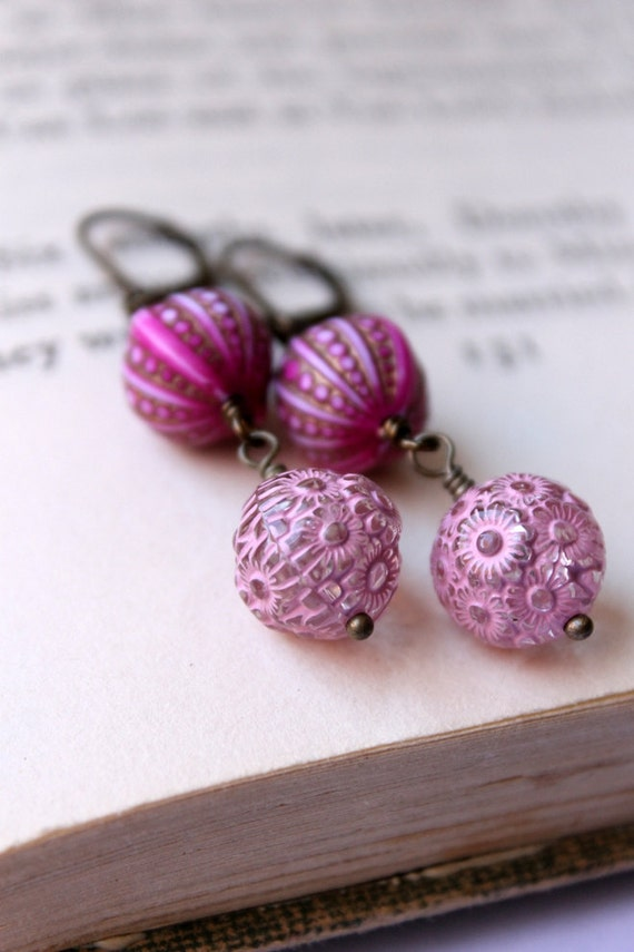 Pink Gypsy Earrings, Boho Chic, Bohemian, Handmade Earrings, Magenta Pink, Daisy, Radiant Orchid
