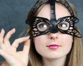 SALE! Dragonfly leather mask in black