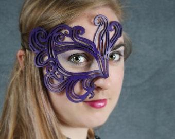 "Half mask in purple  leather ""Bemused"""