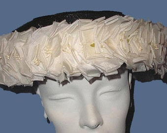 Vintage 50s Black Straw Hat White Flowers