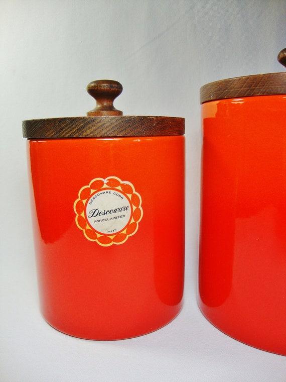 vintage descoware flame enamel metal canisters