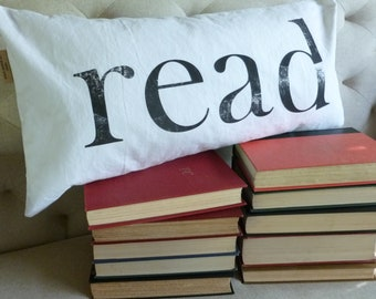 Book Pillow Lumbar Pillow Library Typography Your Choice of Letter Color and Pillow Size Made to Order Pillow Insert Sold Separately