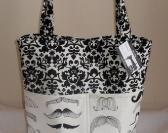 Where's My Stache Large Mustache Tote Bag Purse CUTE