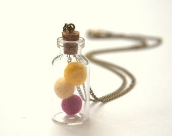 Boho glass bottle chain necklace Valentine gift for her beach Weddings jewelry pendant favor wool ball spring Birthday gift for her