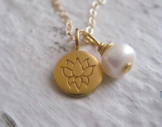 Gold Lotus Tag Necklace