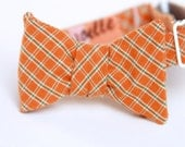 orange plaid bow tie for the little guy