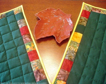 50% OFF Quilted Fall Placemats - Autumn Leaves Are Falling - Set Of Two WERE 37.50
