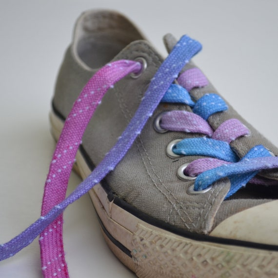 pink blue purple spotty shoe laces by colourbazaar on etsy