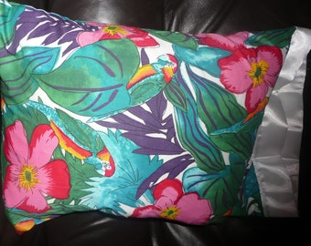 Travel Sized Pillowcase with Pillow (12x16)  Island Print Pattern