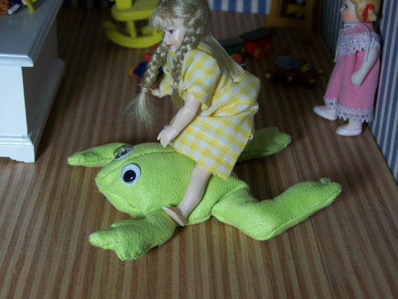 Modern green Frog Bean Bag for Childrens Room  - dollhouse miniature by CWPoppets