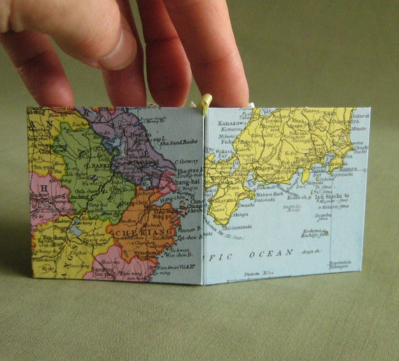SALE Japan / China Recycled Map Star Book or Card by PrairiePeasant