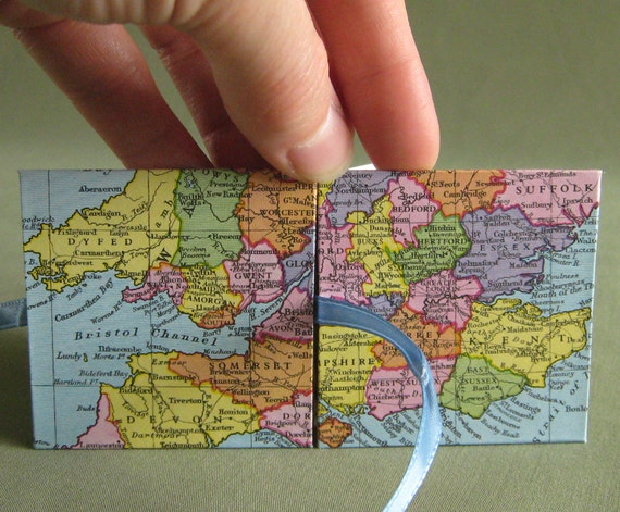 SALE London England Recycled Map Mini Accordion Book or Card by PrairiePeasant
