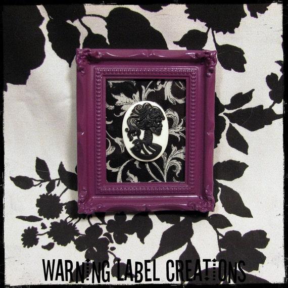 Framed Purple Black and White Damask Baroque 3D Skull Cameo Art - Warning Label Creations