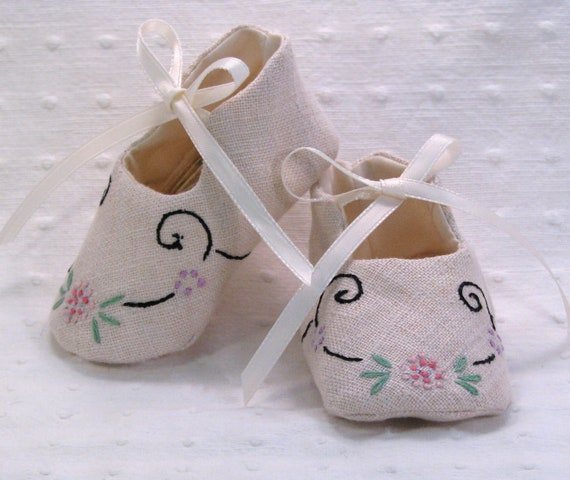 Baby Booties Vintage Linen  handmade  one of a kind