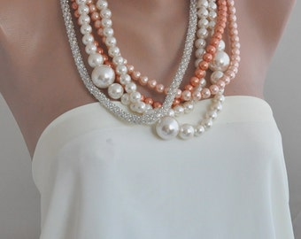 Chunky Pearl Necklace Handmade bridal pearl and rhinestone brides necklace