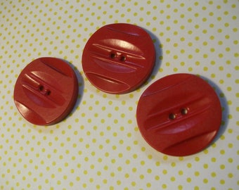 SALE - Large Vintage Red Buttons - 1 1/4 inch - Nicely Detailed - Lot of 3