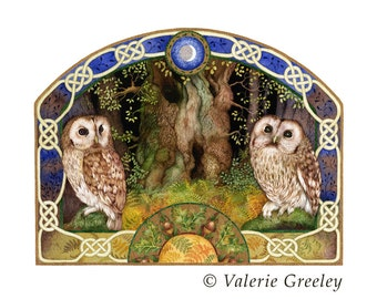Celtic Owl print with gold. Limited edition.