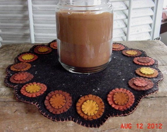 Fall Harvest Autumn Primitive Penny Rug Style Wool Candle Mat  FITOFG Team  FT Team  CAST Team