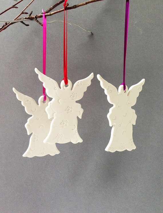 3 large christmas angel ornaments three white porcelain for Angel of the north christmas decoration