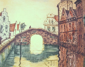 Vintage Hand tinted Dutch Bridge etching pencil signed
