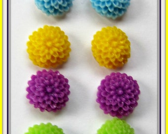 Cabochon Post Earrings,  set of 4 pair Earrings, Flower Cabochon, Purple, Yellow, green, blue, Silver plated posts Item #874