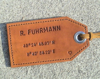 Personalized - 3rd Anniversary - Latitude/Longitude - Leather Luggage Tag with privacy flap on reverse side