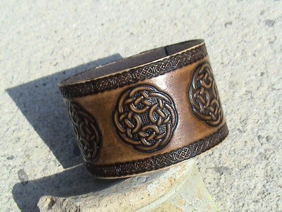 Antiqued Celtic Leather Wristband - 1.5 inch wide - wristband in various dye colours
