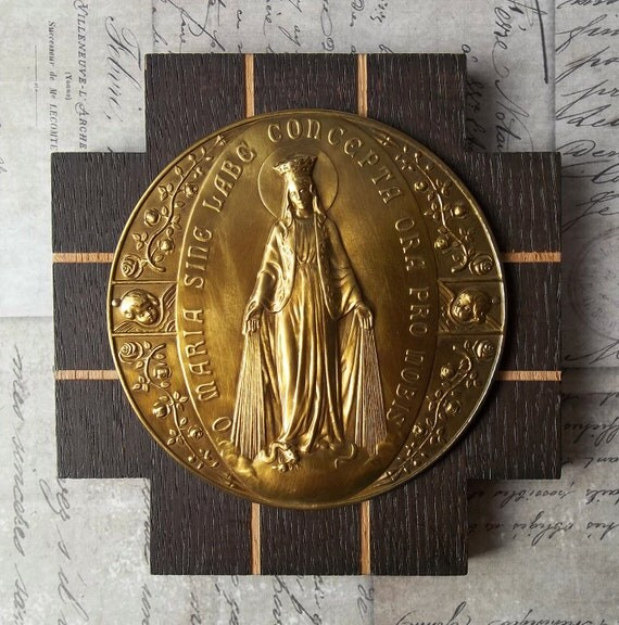 German Wood Miraculous Medal Of The Immaculate Conception