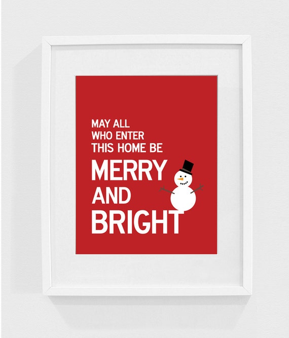 Merry and Bright - Holiday sign, decoration, wall art print, christmas sign