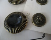 2 Sets of VINTAGE Gold Metal Lion Head and Black Tint BUTTONS