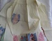 VINTAGE Quilted Tulip Flower Cotton Linen Half Waist Apron