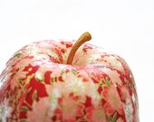 Apple Ornament, Red Apple Ornament, decoupage apple ornament, red origami ornament, pink cherry blossoms, floral, fall autumn thanksgiving
