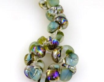 10 Teardrop Handmade Lampwork Beads - Southern Marsh Series (22355)