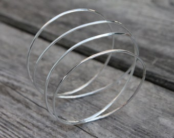 "Faceted Silver ""Endless"" Bangle/Bracelet"