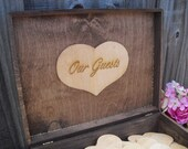 GUEST BOOK Rustic Wedding Wood Personalized Engraved ALTERNATIVE Set for 175 guests - Item 1443