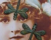 Verdigris Patina Brass Dragonfly Charms 799VER x2