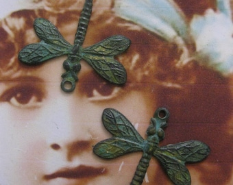 Verdigris Patina Brass Dragonfly Charms 799VER x2