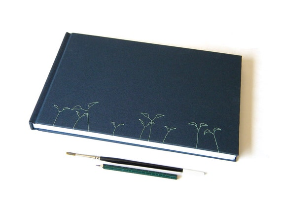 Artist Journal - Handmade - Embroidered - Navy Blue and Green - for Wet and Dry Media - Landscape Format - Gifts Under 100