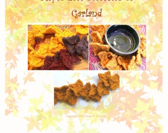 NEW LEAF GARLAND or scarfette pattern - Fast and Sweet Fall Maple Leaf Crochet Pattern -