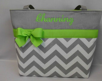 CHEVRON  in Gray .. ..LIME Green   Accents   ... Monogrammed  FReE